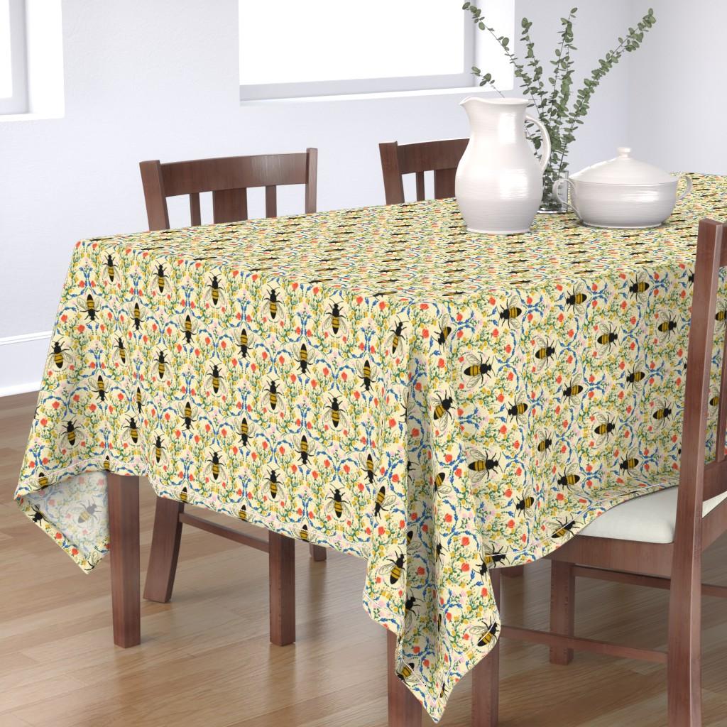 Bantam Rectangular Tablecloth featuring Bee Garden - cream by lapetitelecour