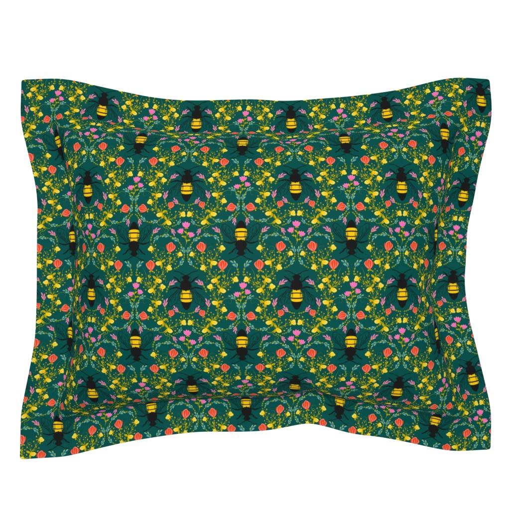 Sebright Pillow Sham featuring Bee Garden  - deep green by lapetitelecour