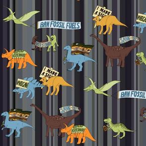 Dinosaurs on denim stripe