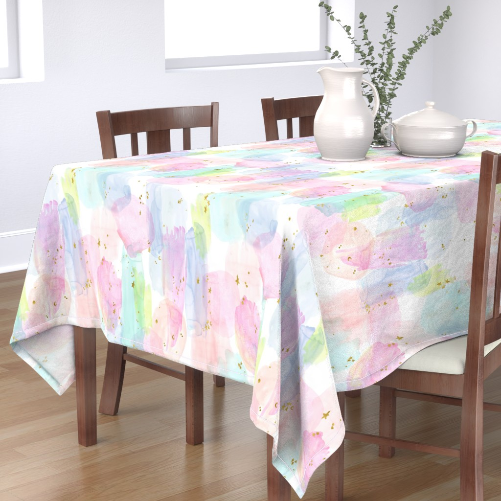 Bantam Rectangular Tablecloth featuring Rainbow Watercolor by crystal_walen