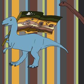 Dinosaurs on dino stripe greys