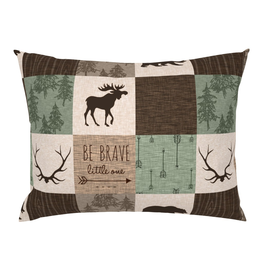 Campine Pillow Sham featuring Be Brave Quilt - green and brown - little one - woodland by sugarpinedesign