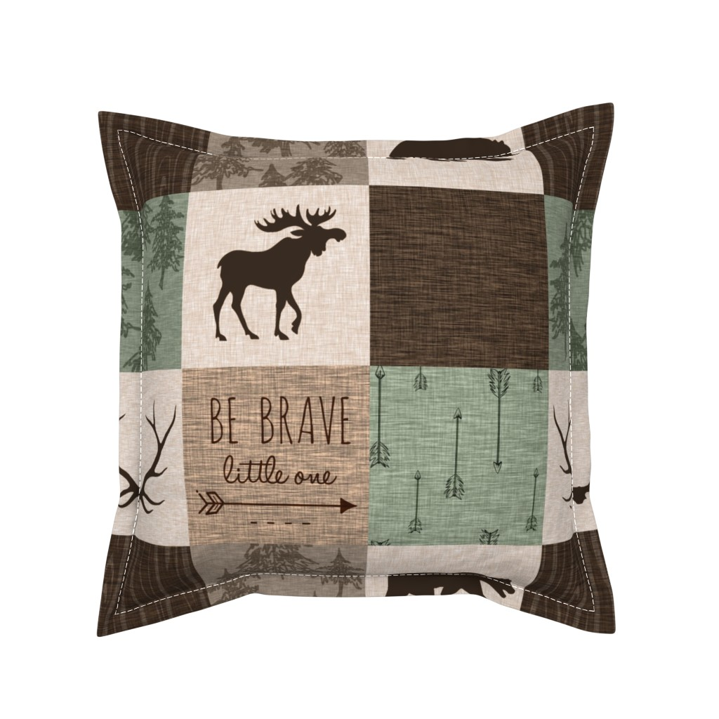 Serama Throw Pillow featuring Be Brave Quilt - green and brown - little one - woodland by sugarpinedesign