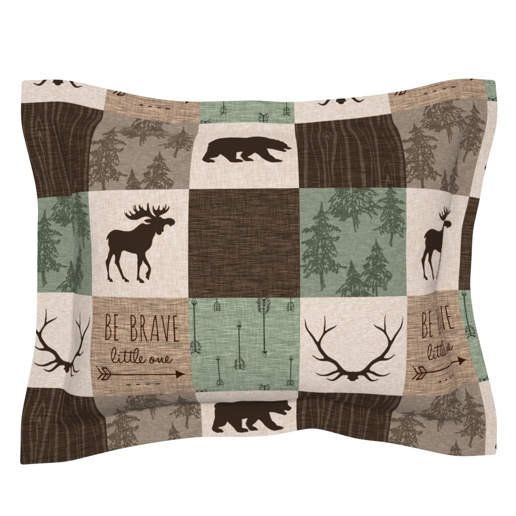 Sebright Pillow Sham featuring Be Brave Quilt - green and brown - little one - woodland by sugarpinedesign