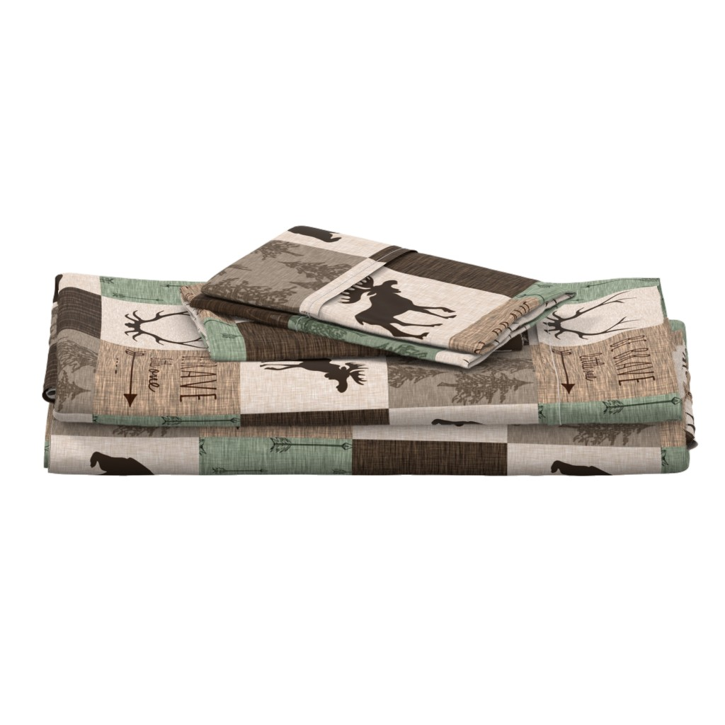 Langshan Full Bed Set featuring Be Brave Quilt - green and brown - little one - woodland by sugarpinedesign