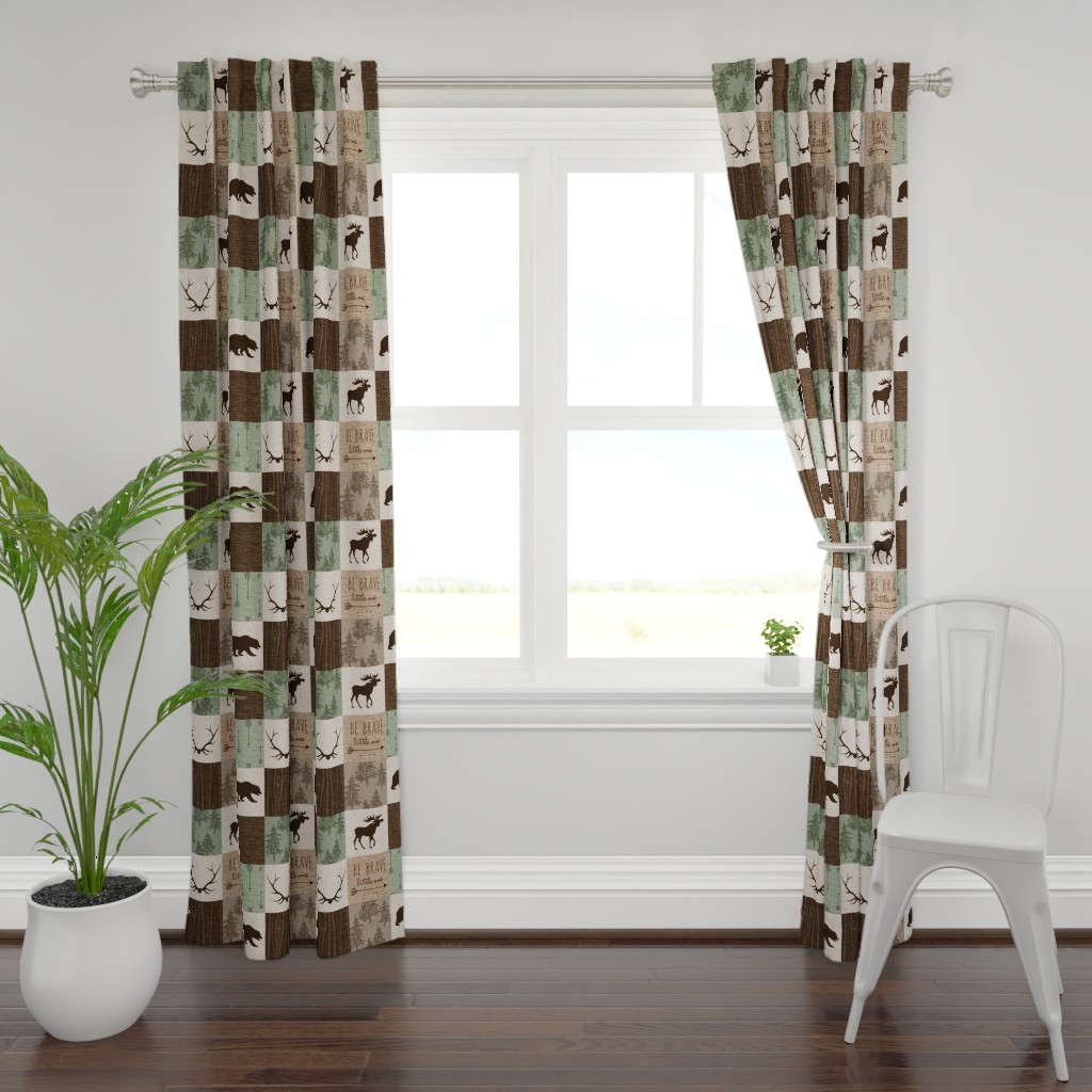 Plymouth Curtain Panel featuring Be Brave Quilt - green and brown - little one - woodland by sugarpinedesign