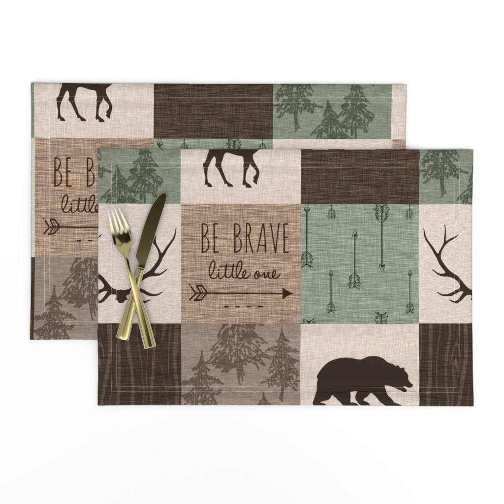 Lamona Cloth Placemats featuring Be Brave Quilt - green and brown - little one - woodland by sugarpinedesign