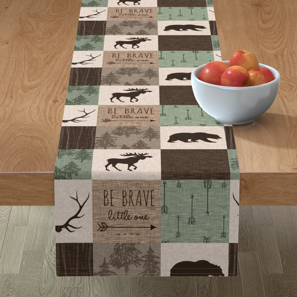 Minorca Table Runner featuring Be Brave Quilt - green and brown - little one - woodland by sugarpinedesign