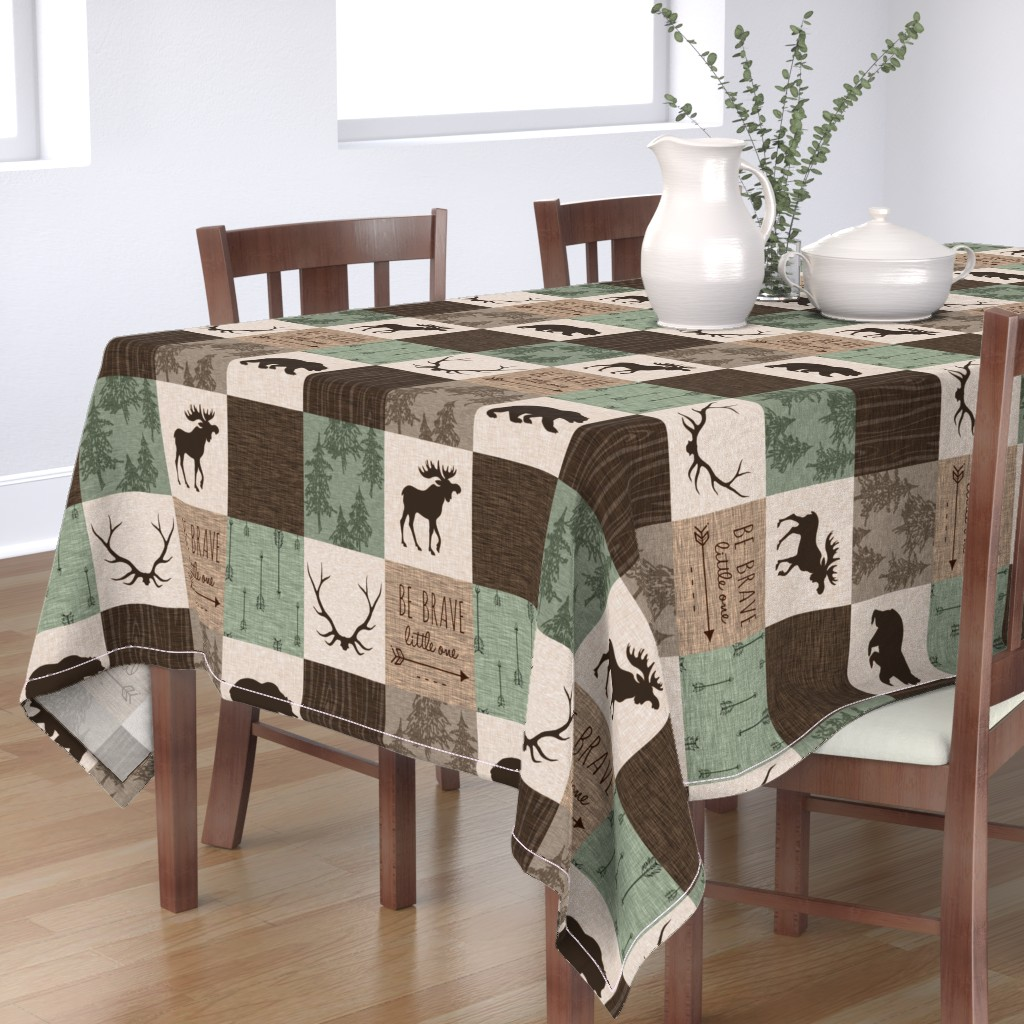 Bantam Rectangular Tablecloth featuring Be Brave Quilt - green and brown - little one - woodland by sugarpinedesign