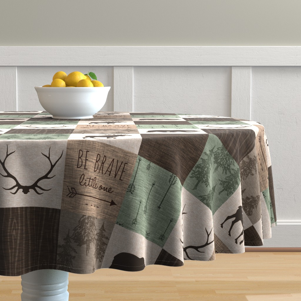 Malay Round Tablecloth featuring Be Brave Quilt - green and brown - little one - woodland by sugarpinedesign