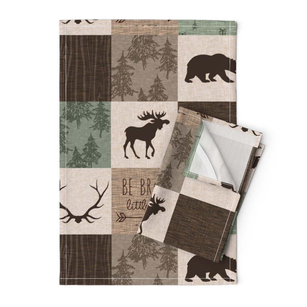 Orpington Tea Towels featuring Be Brave Quilt - green and brown - little one - woodland by sugarpinedesign