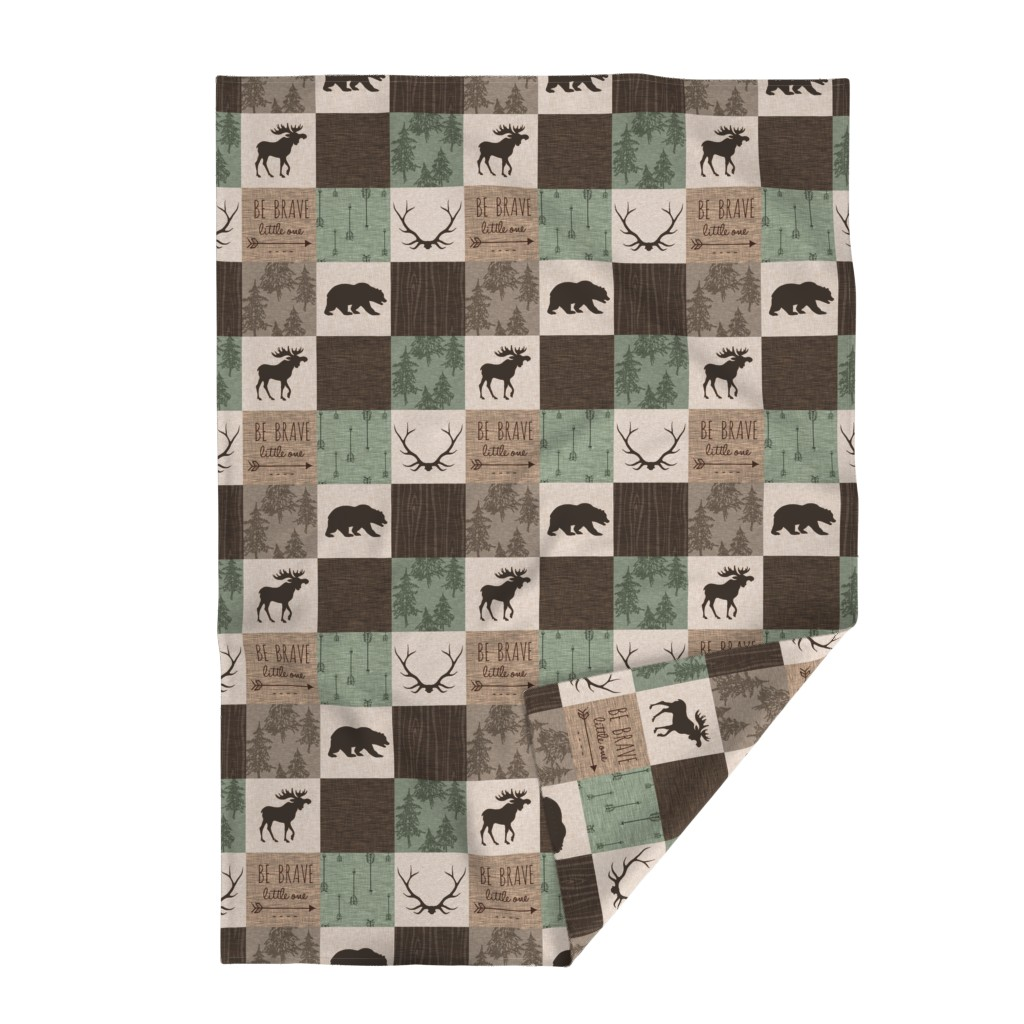 Lakenvelder Throw Blanket featuring Be Brave Quilt - green and brown - little one - woodland by sugarpinedesign