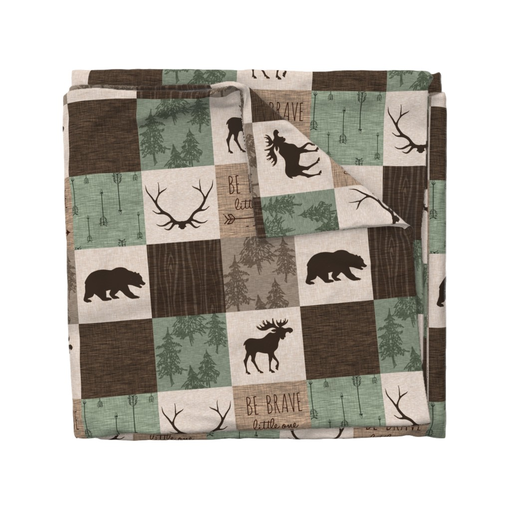 Wyandotte Duvet Cover featuring Be Brave Quilt - green and brown - little one - woodland by sugarpinedesign