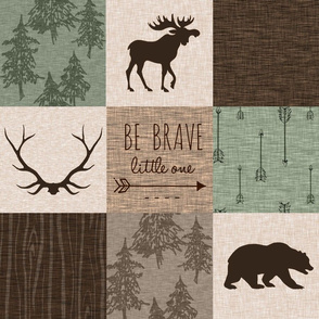 Be Brave Quilt - green and brown - little one - woodland