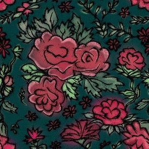 Project 413 | Cottage Rose on Dark Teal Green