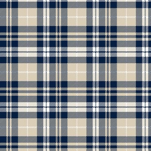 (small scale) fall plaid || navy, tan, white