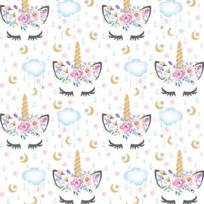 "2"" moon and stars sleepy unicorn white"
