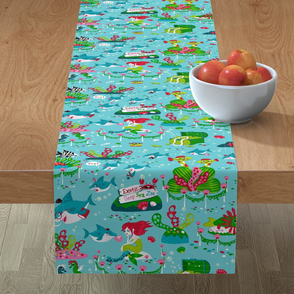 Minorca Table Runner featuring Sharks on a school trip (please zoom in for detail ^^ ) by miriam_bos