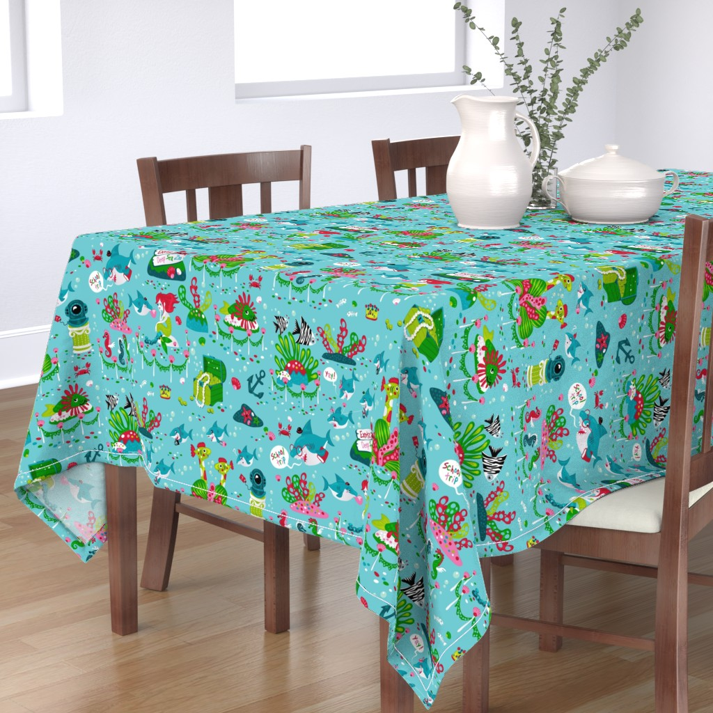 Bantam Rectangular Tablecloth featuring Sharks on a school trip (please zoom in for detail ^^ ) by miriam_bos