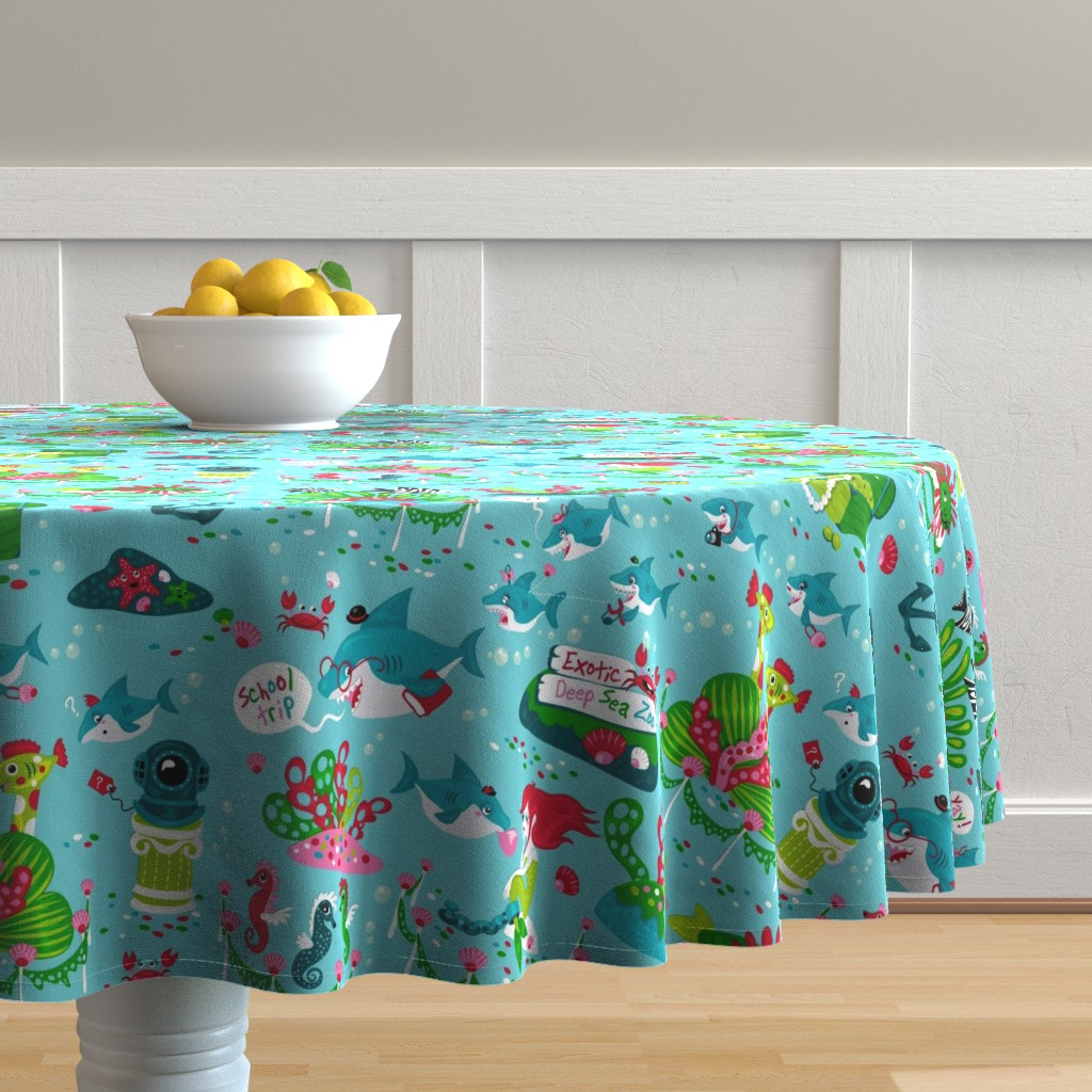 Malay Round Tablecloth featuring Sharks on a school trip (please zoom in for detail ^^ ) by miriam_bos