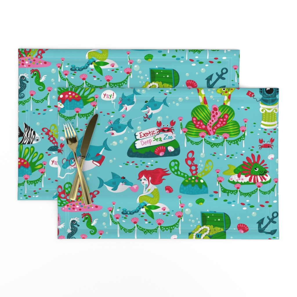 Lamona Cloth Placemats featuring Sharks on a school trip (please zoom in for detail ^^ ) by miriam_bos