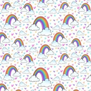 Rainbows and Clouds white