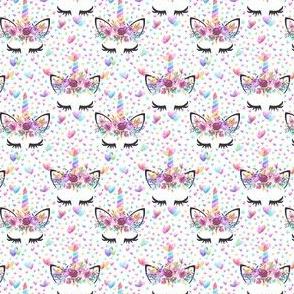 """1"""" Valentines Unicorns white"""