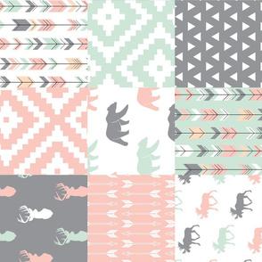 Willow Woods Patchwork Quilt top - pink, grey, mint - woodland (90)