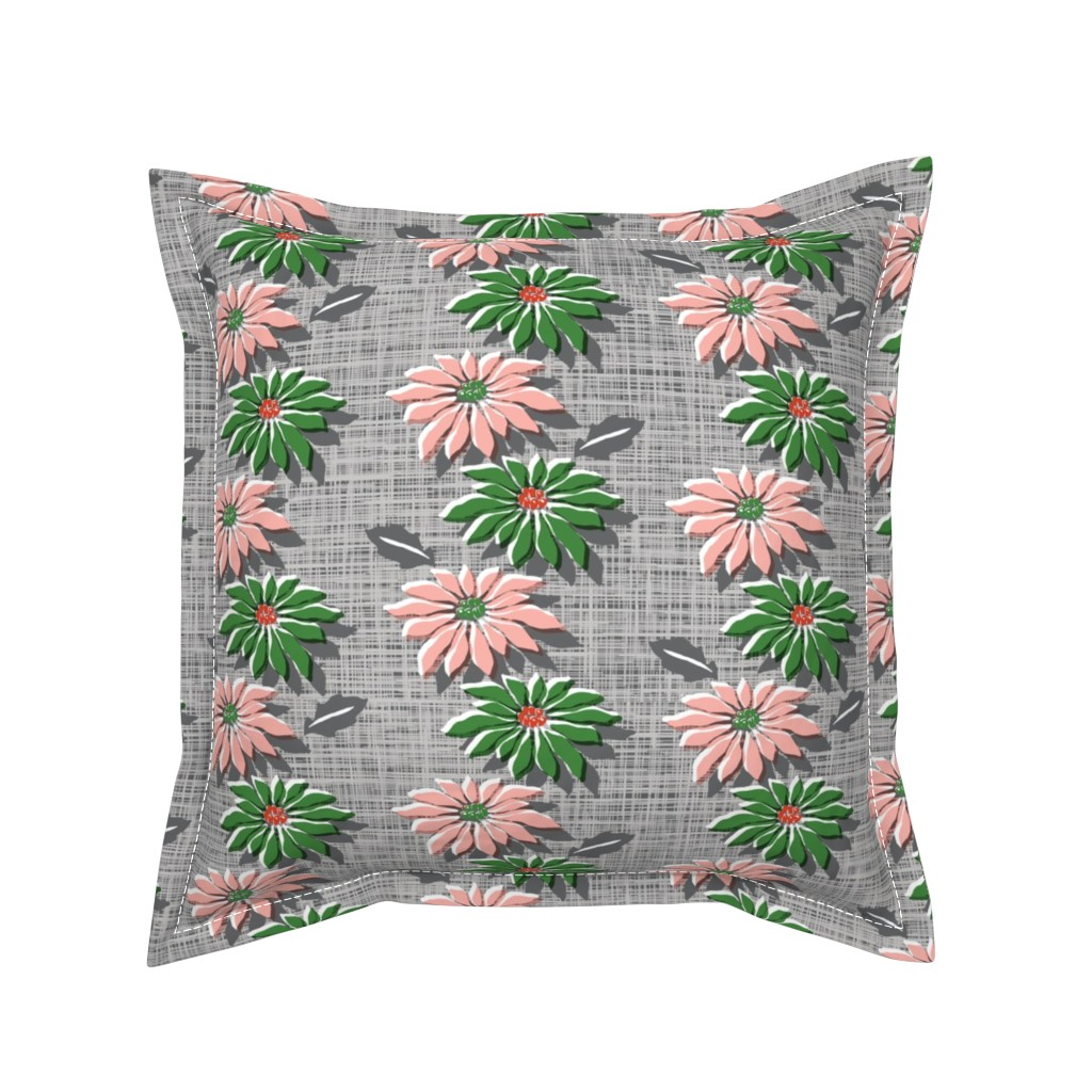 Serama Throw Pillow featuring Poinsettias* (Red & Green Hatch) || jumbo poinsettia flower flowers floral vintage retro stripes Christmas holiday plant nature decor tradition large format scale linens tablecloth kitchen by pennycandy
