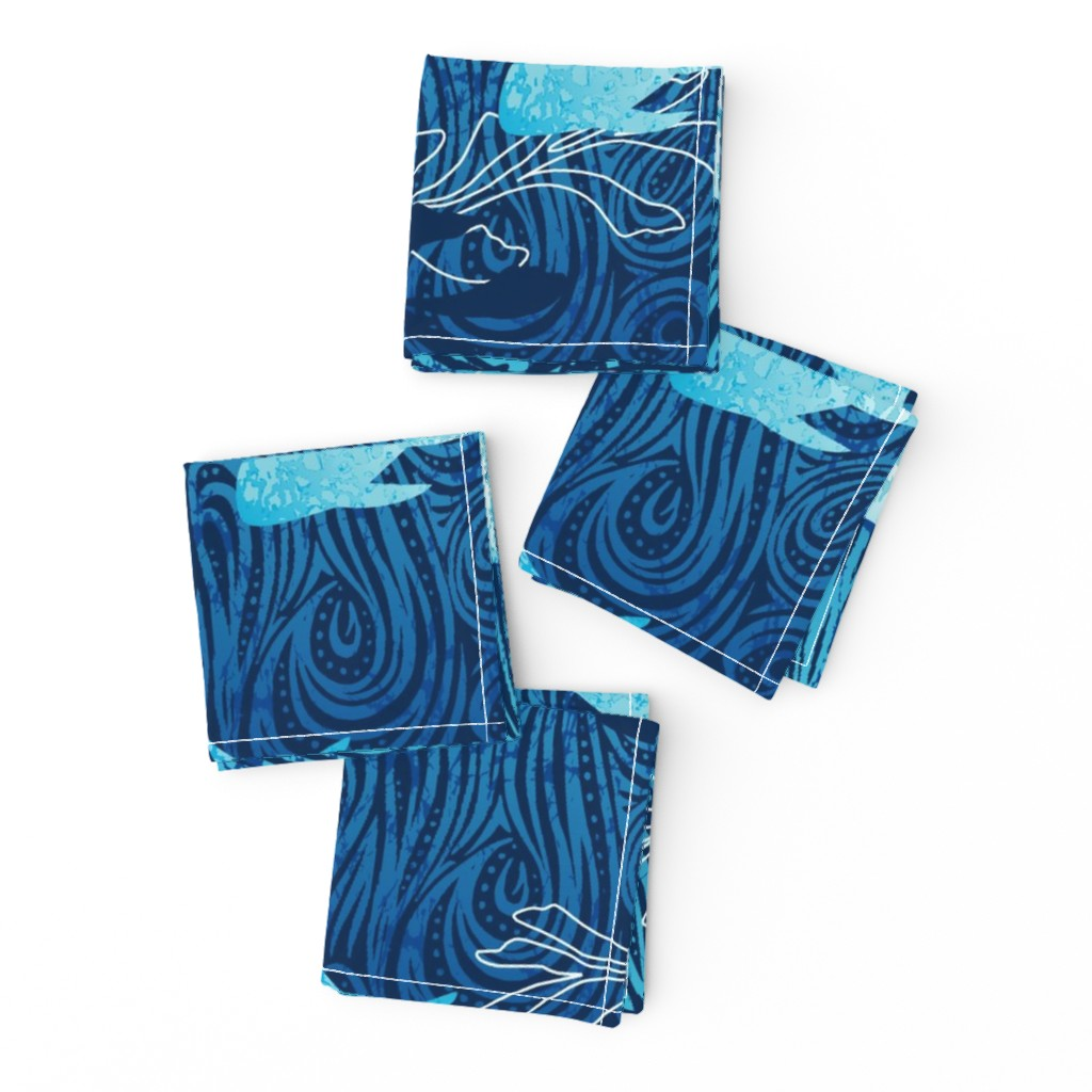 Frizzle Cocktail Napkins featuring Batik Shark Panel by cjldesigns
