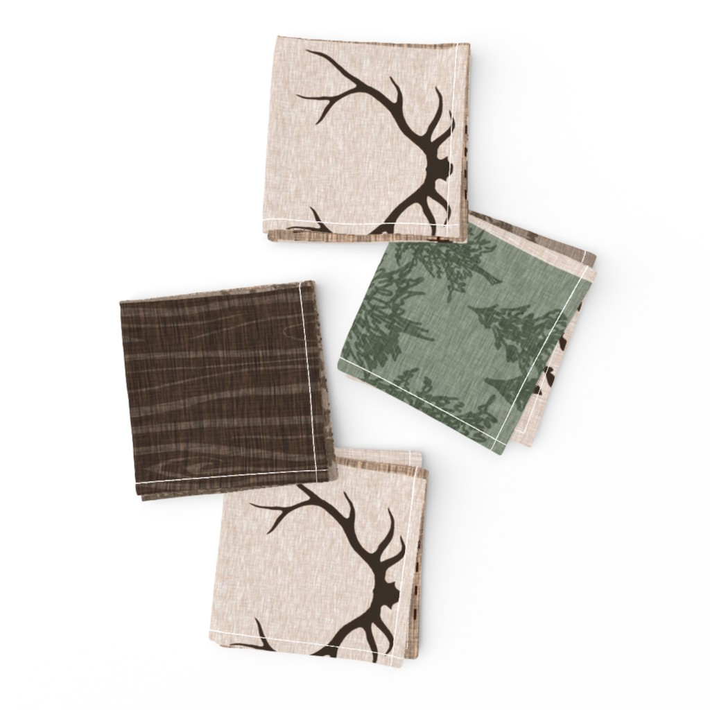 Frizzle Cocktail Napkins featuring Be Brave Quilt- green and brown - rotated -  moose, bear,  antlers by sugarpinedesign