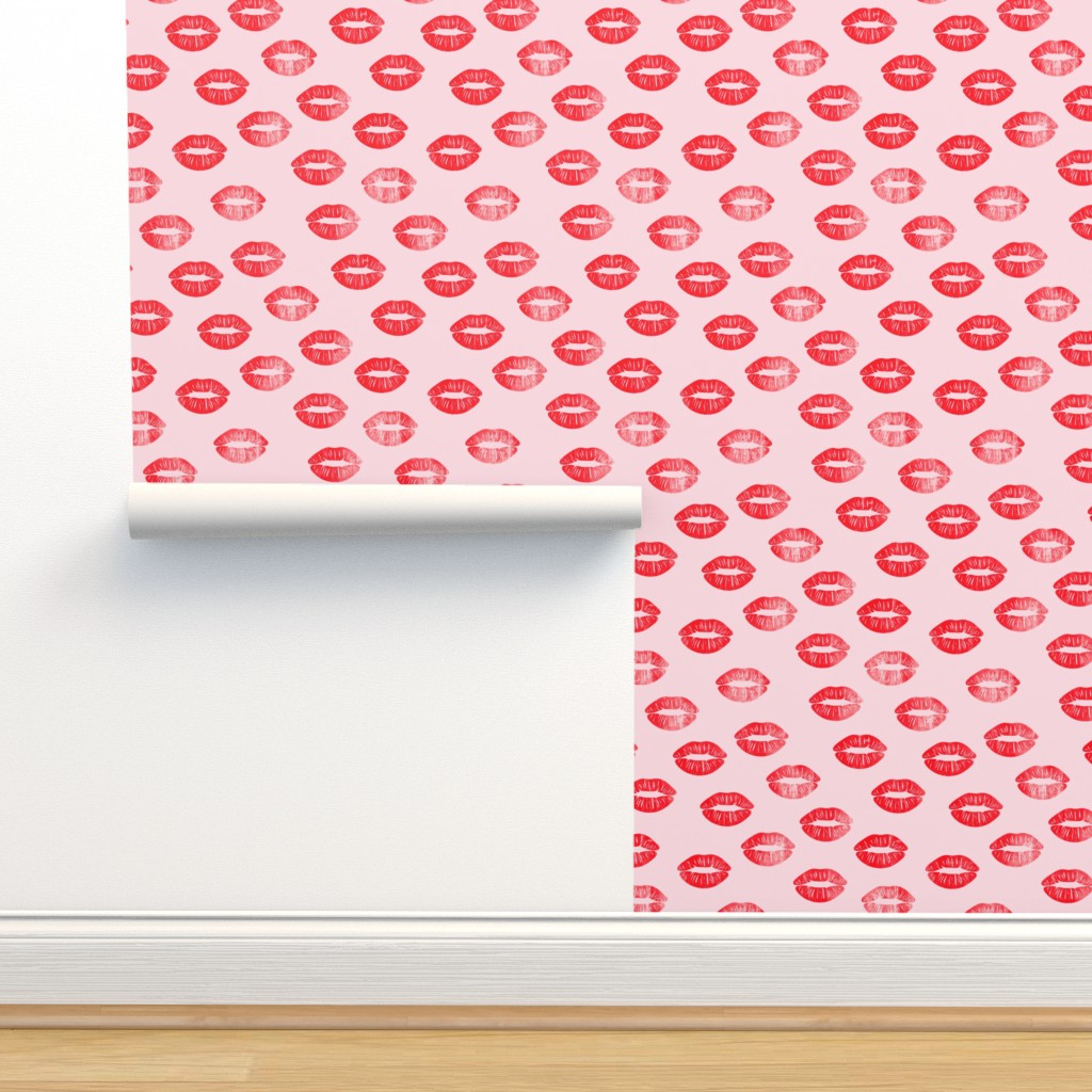 Isobar Durable Wallpaper featuring smooches - kisses - red on pink by littlearrowdesign