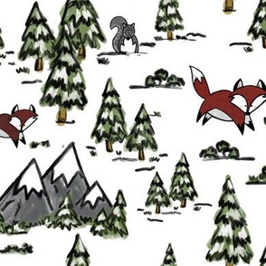 Winter Woodland with Fox