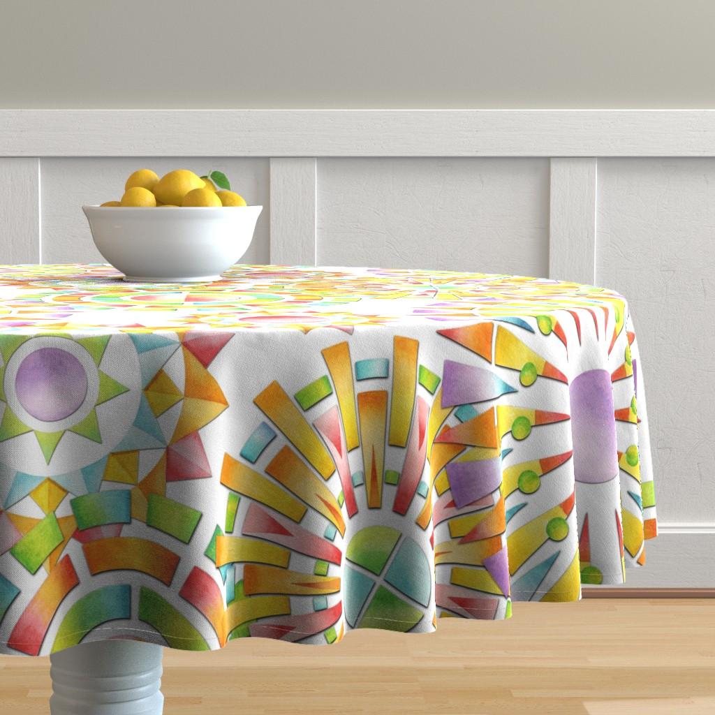 Malay Round Tablecloth featuring Fragmentation Sunburst by patriciasheadesigns