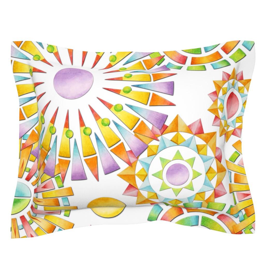 Sebright Pillow Sham featuring Fragmentation Sunburst by patriciasheadesigns