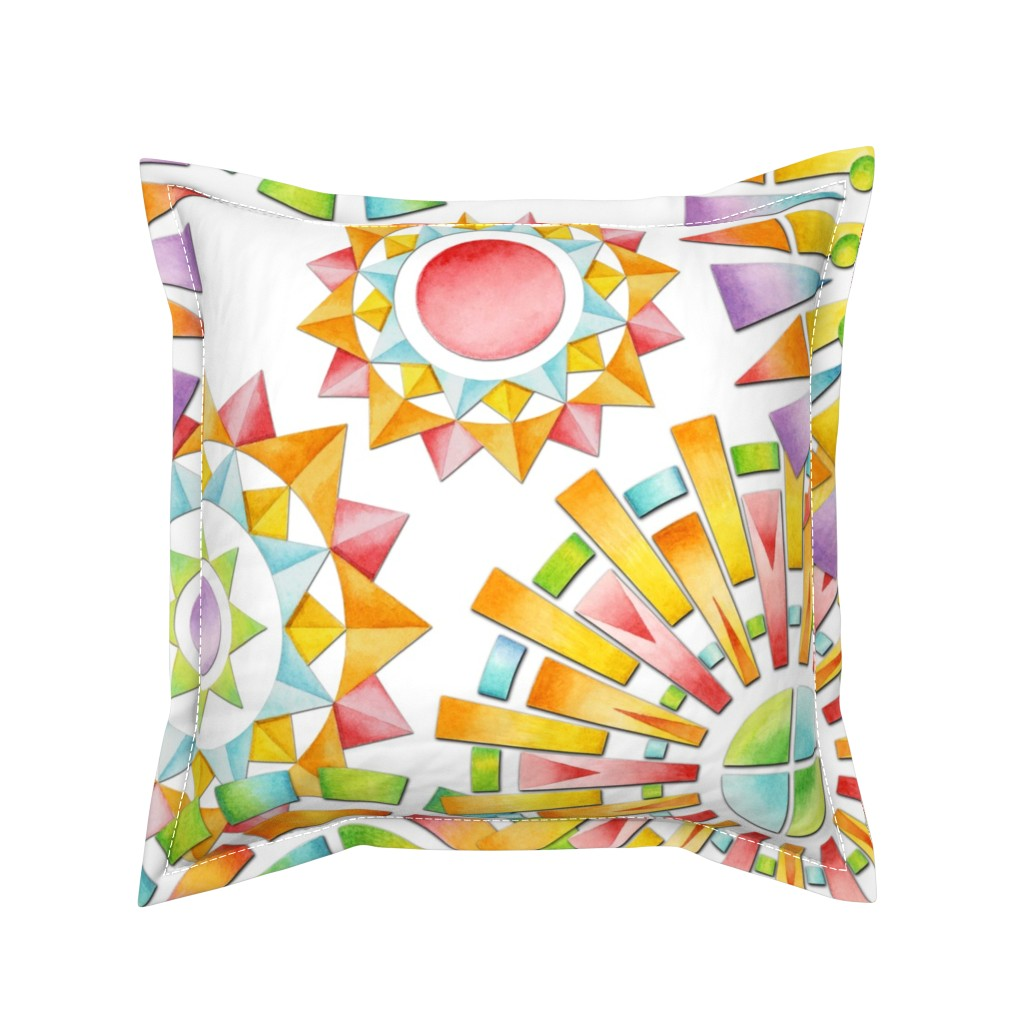 Serama Throw Pillow featuring Fragmentation Sunburst by patriciasheadesigns