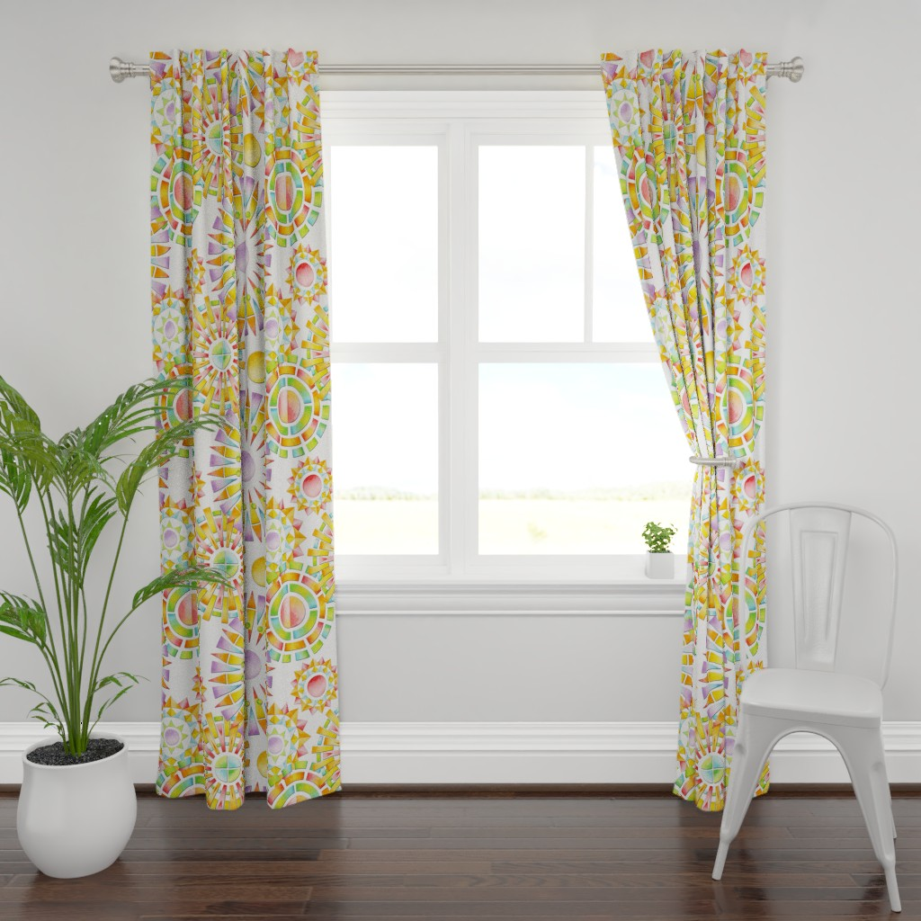 Plymouth Curtain Panel featuring Fragmentation Sunburst by patriciasheadesigns