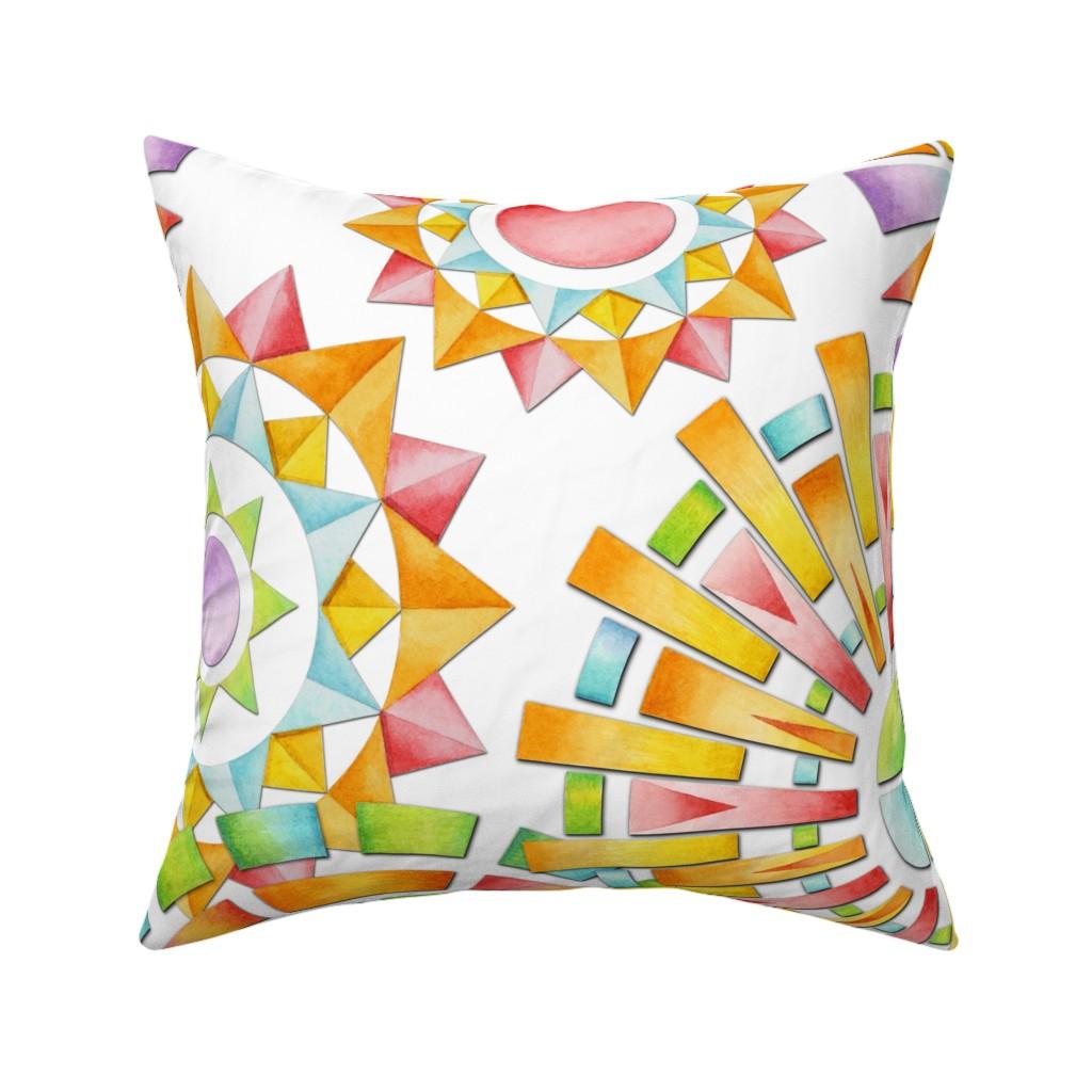 Catalan Throw Pillow featuring Fragmentation Sunburst by patriciasheadesigns