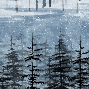 Wintertrees in blue with snow
