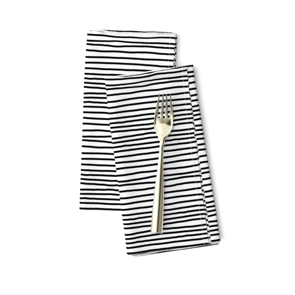 Amarela Dinner Napkins featuring Sketchy Stripes // Black (Small Size) by theartwerks
