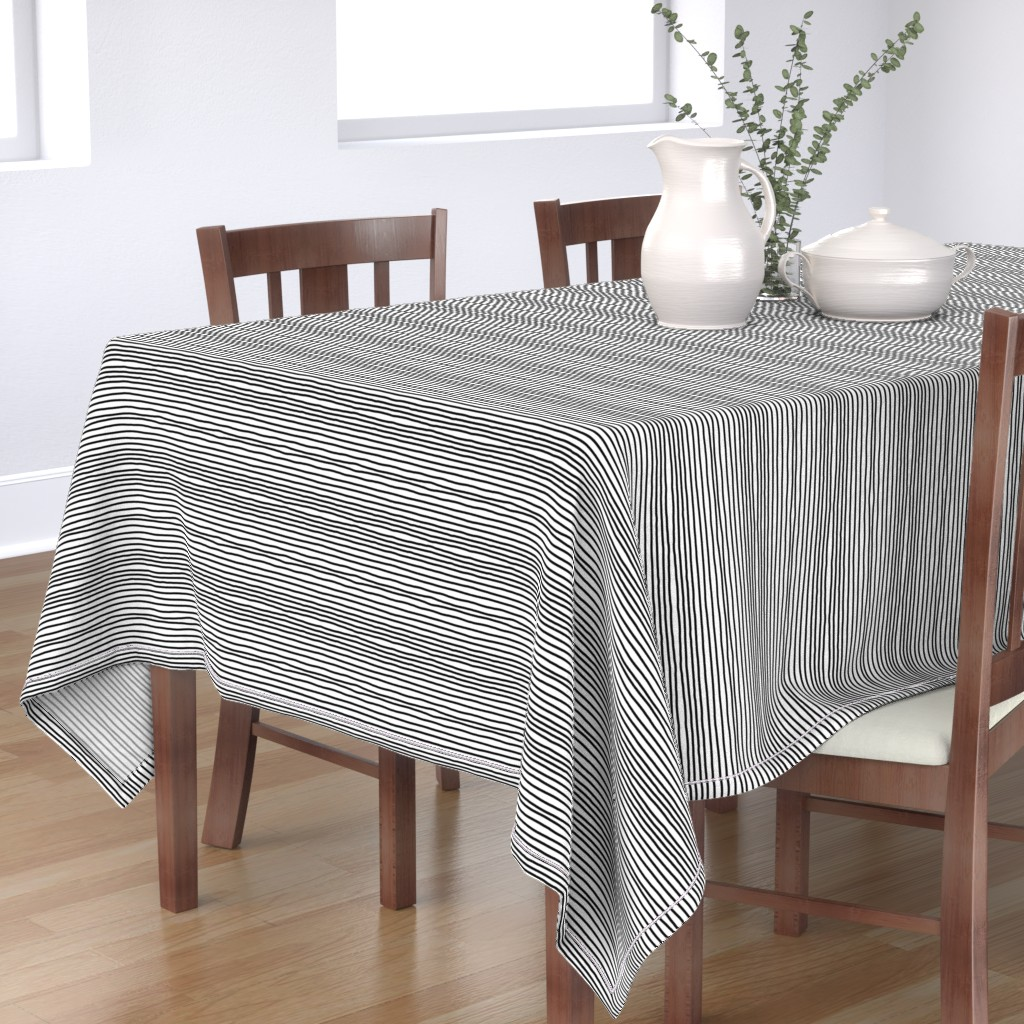 Bantam Rectangular Tablecloth featuring Sketchy Stripes // Black (Small Size) by theartwerks