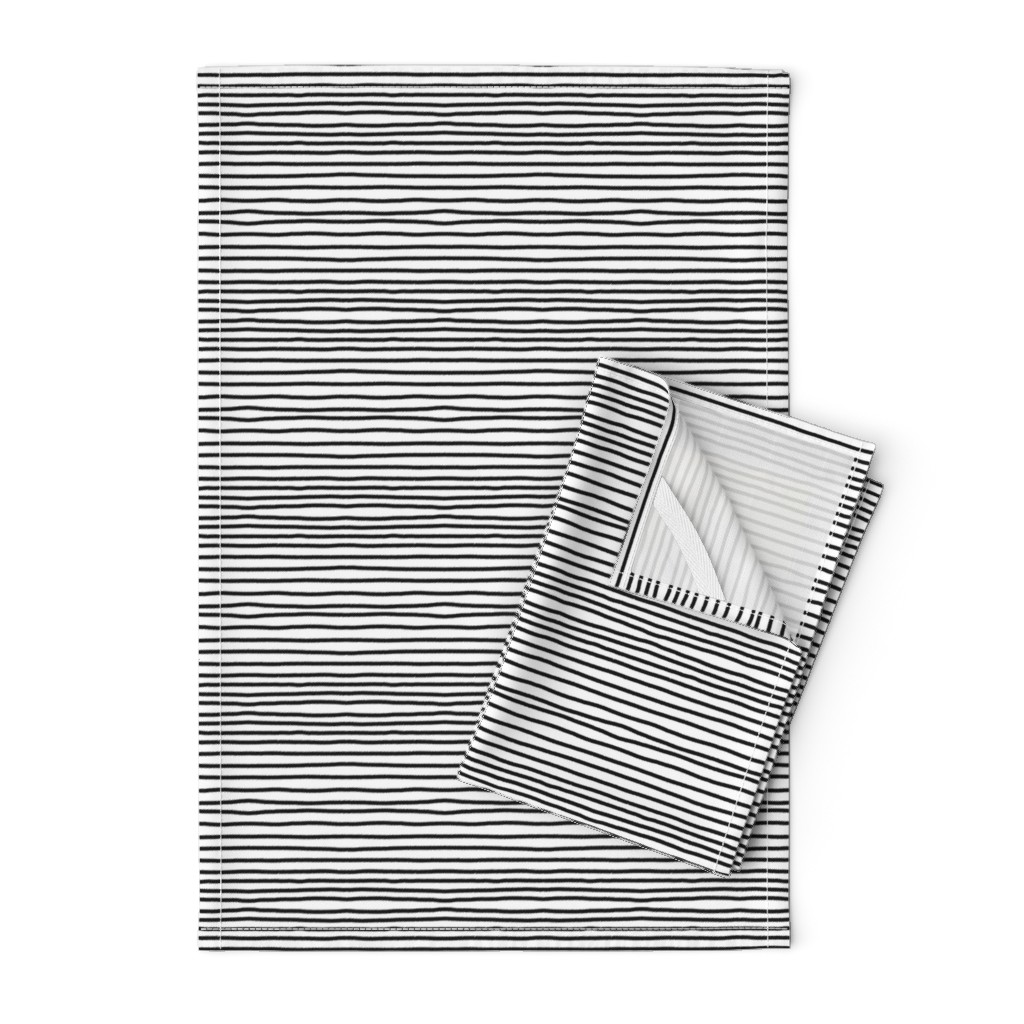 Orpington Tea Towels featuring Sketchy Stripes // Black (Small Size) by theartwerks