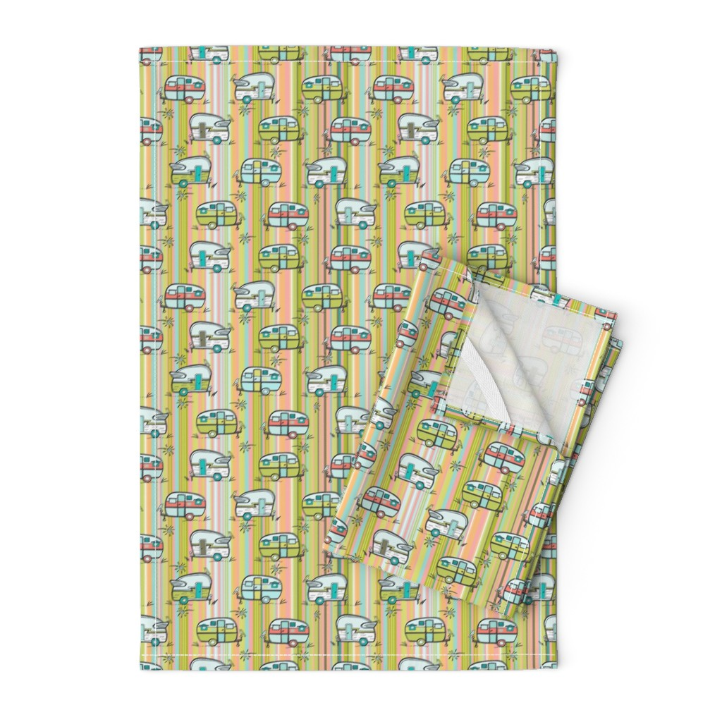 Orpington Tea Towels featuring Campers lime pink by teresamagnuson