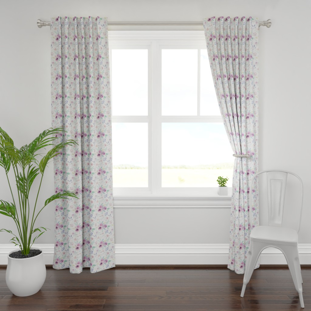 Plymouth Curtain Panel featuring Spring Watercolour Florals MEDIUM by sylviaoh