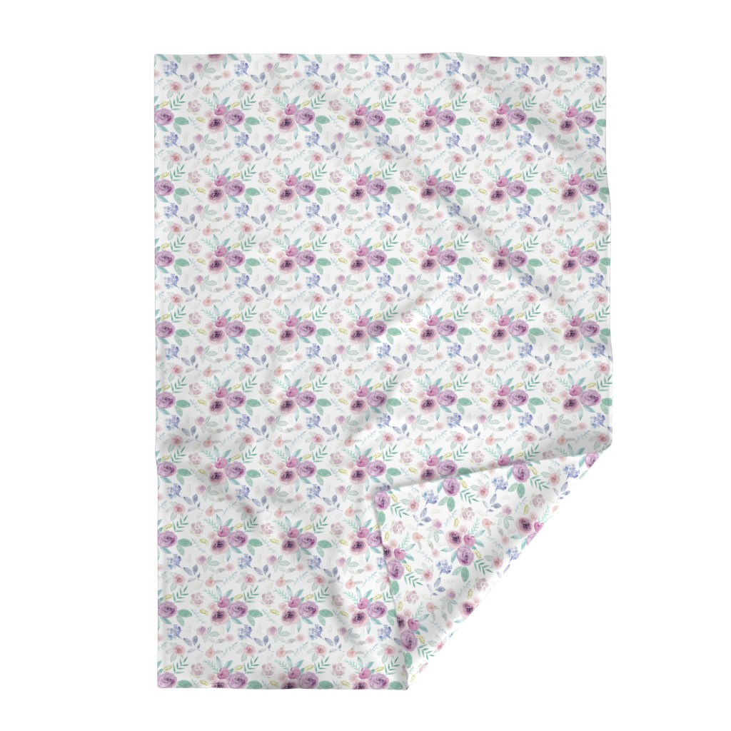 Lakenvelder Throw Blanket featuring Spring Watercolour Florals MEDIUM by sylviaoh