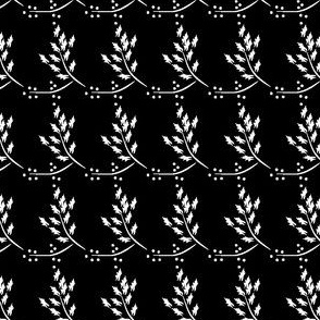 Ebony and Ivory, black and white fabric, black fabric, white leaves