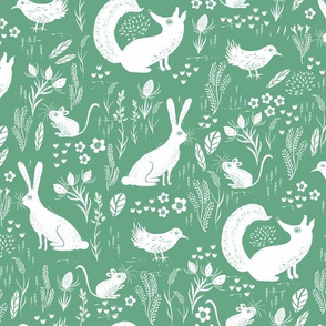 Hare, Fox, mouse and bird Green