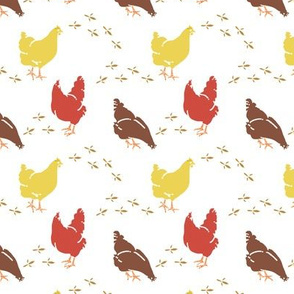 Barynyard Hens on White, Country Farmhouse Style, Poultry
