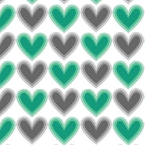 Hearts Beat Green Pattern