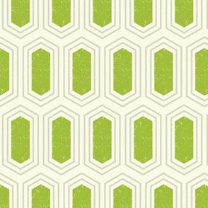 Elongated Hexagon Geometric Pattern (Fill Green & Grey on White)